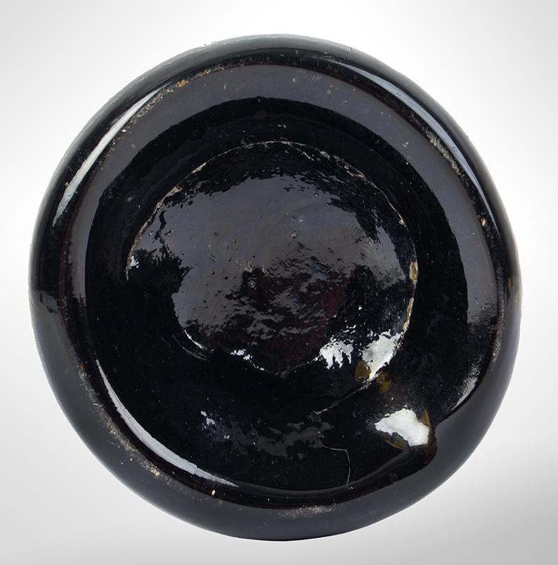 18th Century Sealed Black Glass Wine Bottle, George Bickford, Non Dubio, Devon, bottom view