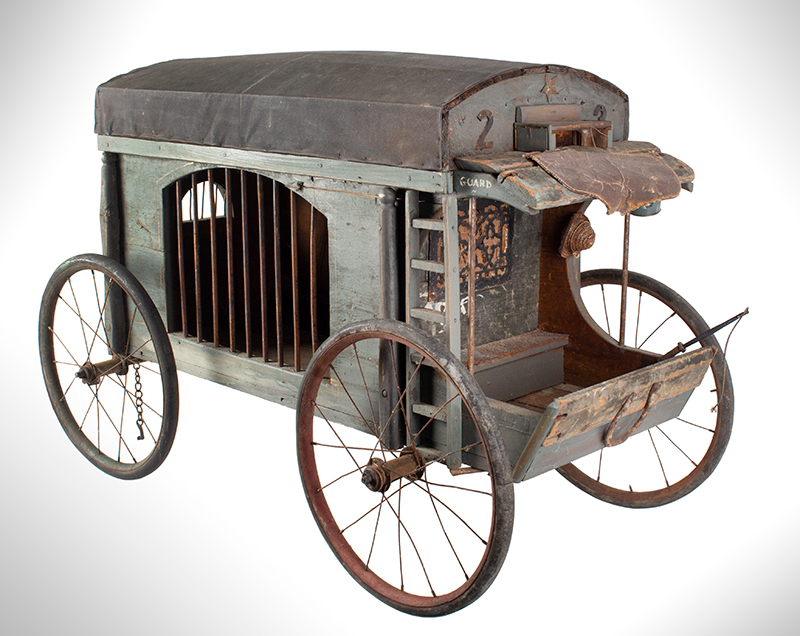 Antique, Jail Wagon or Dog Catcher's Wagon, Goat Cart, Rutland County Probably Vermont, entire view