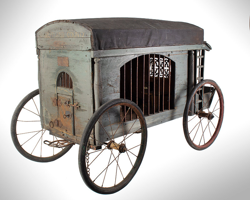 Antique, Jail Wagon or Dog Catcher's Wagon, Goat Cart, Rutland County Probably Vermont, entire view 2