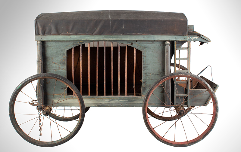 Antique, Jail Wagon or Dog Catcher's Wagon, Goat Cart, Rutland County Probably Vermont, entire view 3