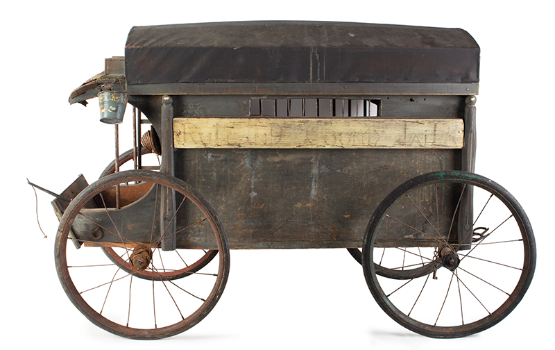 Antique, Jail Wagon or Dog Catcher's Wagon, Goat Cart, Rutland County Probably Vermont, entire view 4