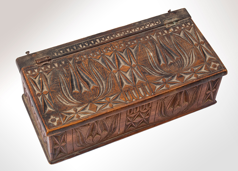 Chip-carved Box, Tulips, Possibly Pennsylvania, entire view 2