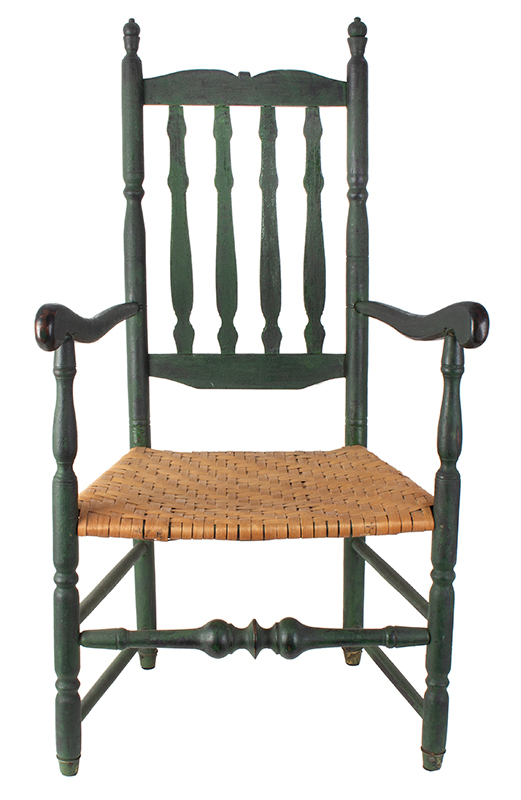 New England Banister Back Armchair, William & Mary, Great Green Paint Likely Connecticut River Valley, entire view 3