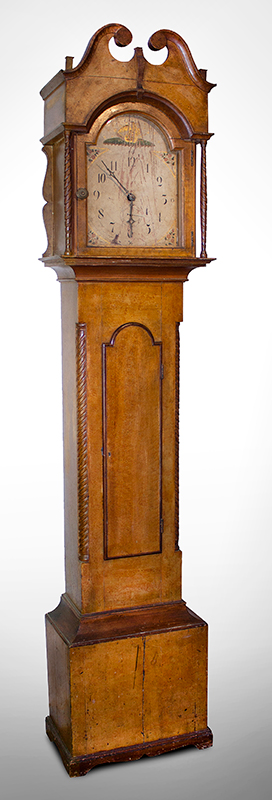 19th Century American Paint Decorated Tall Clock, entire view