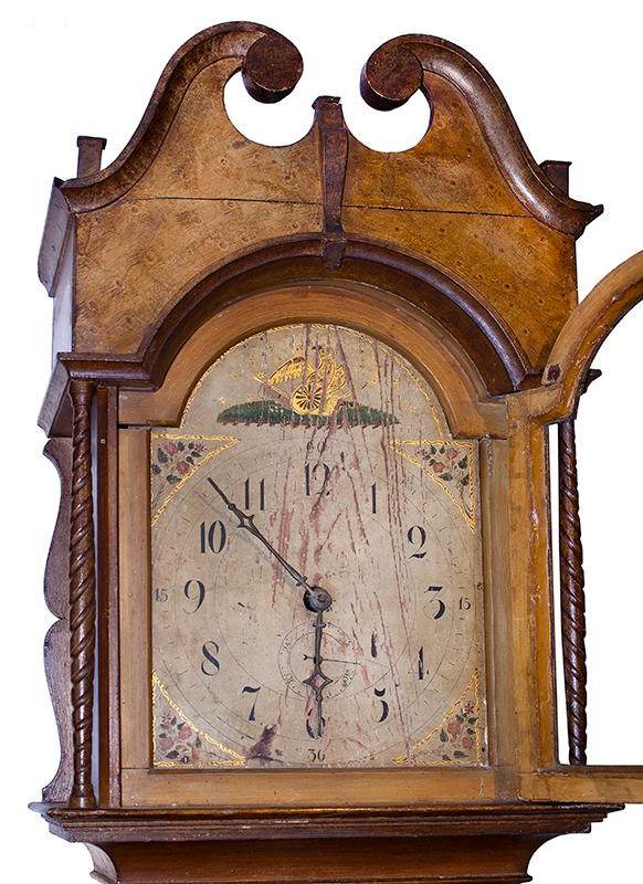 19th Century American Paint Decorated Tall Clock, face detail