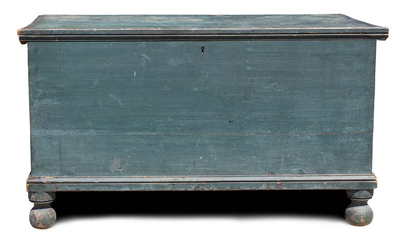 Ball Footed Blanket Chest, Storage Chest, Original Blue Paint, Pennsylvania, entire view 1