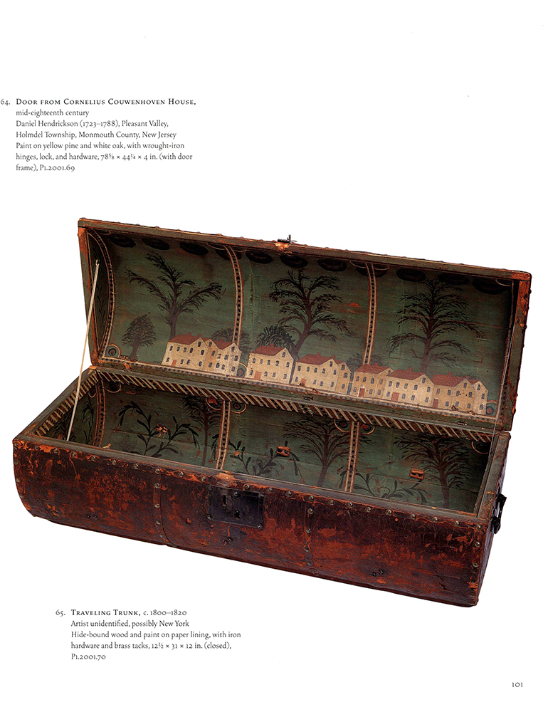 Folk Art, Leather and Brass Tacked Wooden Traveling Trunk Paint Decorated Interior, Village, Trees Possibly New York, book detail 2