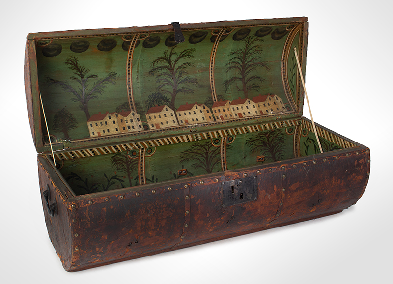 Folk Art, Leather and Brass Tacked Wooden Traveling Trunk Paint Decorated Interior, Village, Trees Possibly New York, entire view 1
