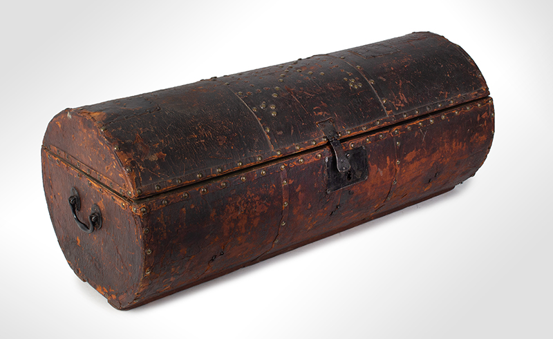 Folk Art, Leather and Brass Tacked Wooden Traveling Trunk Paint Decorated Interior, Village, Trees Possibly New York, entire view 2