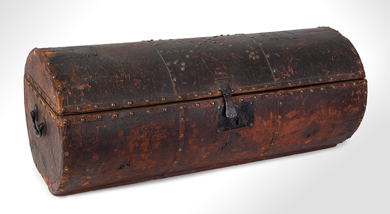 Folk Art, Leather and Brass Tacked Wooden Traveling Trunk Paint Decorated Interior, Village, Trees Possibly New York, entire view 3