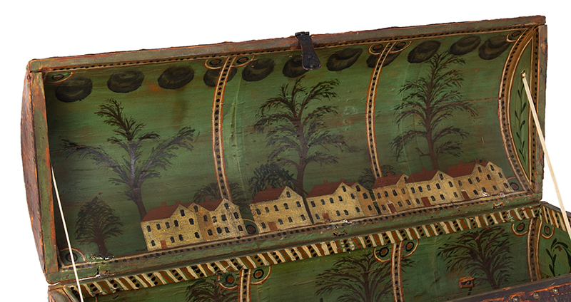 Folk Art, Leather and Brass Tacked Wooden Traveling Trunk Paint Decorated Interior, Village, Trees Possibly New York, interior view 1