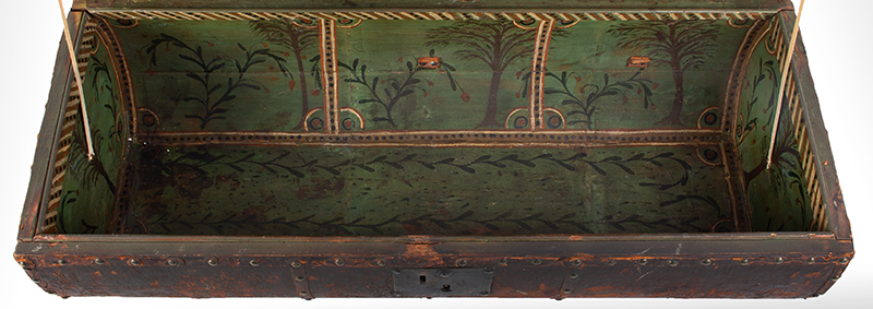 Folk Art, Leather and Brass Tacked Wooden Traveling Trunk Paint Decorated Interior, Village, Trees Possibly New York, interior view 2