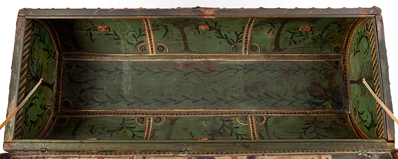 Folk Art, Leather and Brass Tacked Wooden Traveling Trunk Paint Decorated Interior, Village, Trees Possibly New York, interior view 5