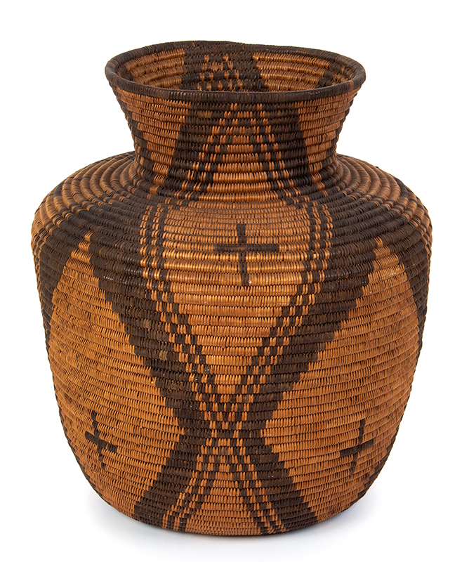"Basket, Apache Olla, Coiled, High Neck, Slightly Flaring Sides, 12.5"" Southwest, entire view 1"