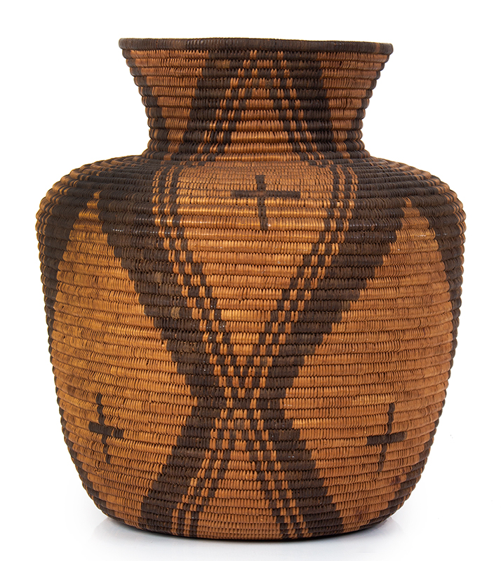 "Basket, Apache Olla, Coiled, High Neck, Slightly Flaring Sides, 12.5"" Southwest, entire view 2"