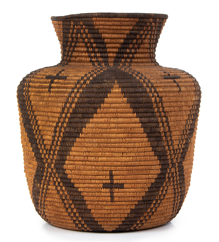 "Basket, Apache Olla, Coiled, High Neck, Slightly Flaring Sides, 12.5"" Southwest, entire view 3"
