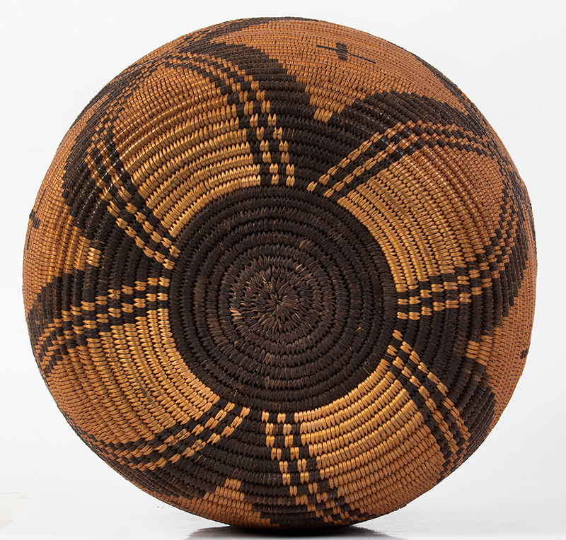 "Basket, Apache Olla, Coiled, High Neck, Slightly Flaring Sides, 12.5"" Southwest, bottom view"