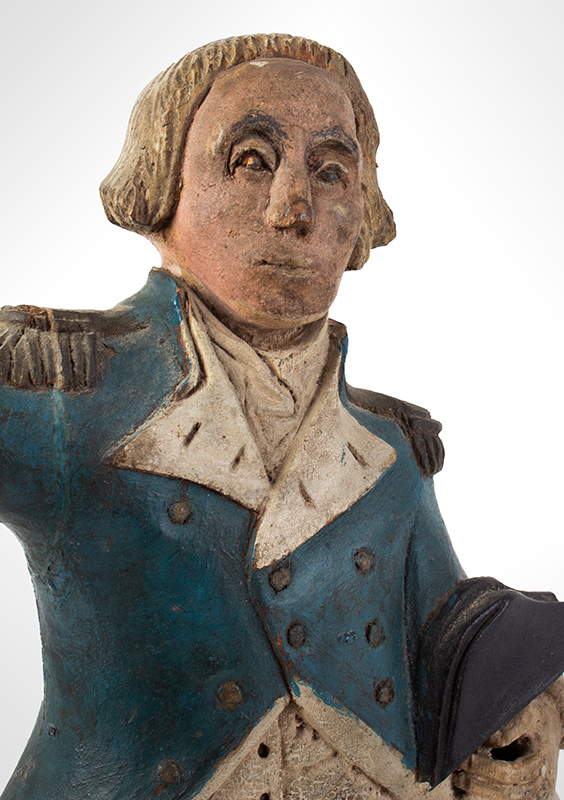 Carved & Painted Folk Art Carving, George Washington, Fragment, detail view 1