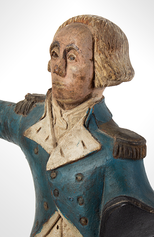 Carved & Painted Folk Art Carving, George Washington, Fragment, detail view 2