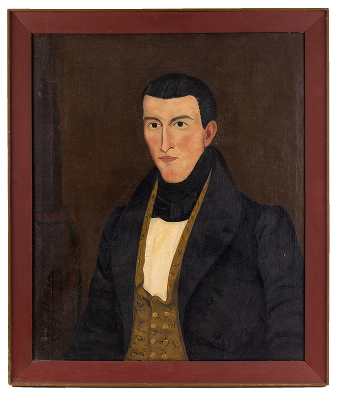 New England Folk Art Portrait, Young Gentleman, Sprigged vest, entire view