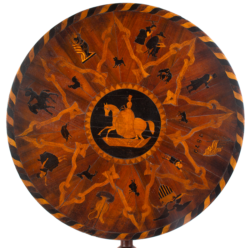 Marquetry Decorated Folk Art Table, A MASTERPIECE, top view
