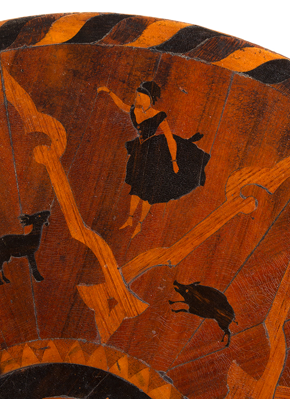 Marquetry Decorated Folk Art Table, A MASTERPIECE, detail view 2