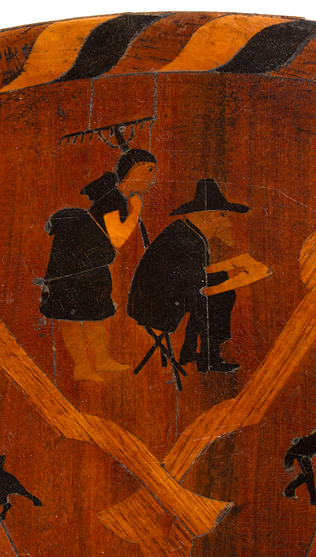Marquetry Decorated Folk Art Table, A MASTERPIECE, detail view 4