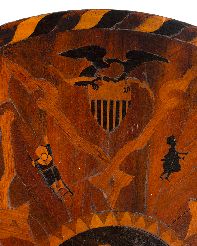 Marquetry Decorated Folk Art Table, A MASTERPIECE, detail view 5