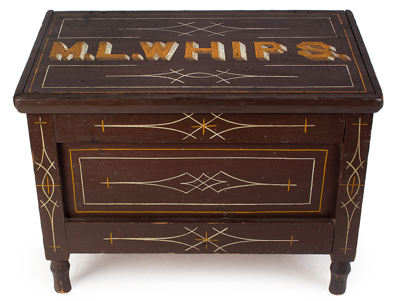 Antique, Paint Decorated Lift Top Trunk, M.L. Whips entire view 2