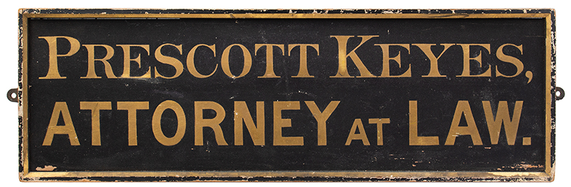 Trade Sign, Prescott Keyes Attorney at Law, Gold on Smaltz Concord & Boston, Massachusetts, entire view