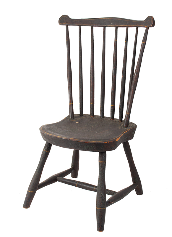 19th Century Youths Windsor Fan-Back Side Chair, Historic Surface New England, circa 1810 Seat carved of Northeastern white pine, early brown over green over red paint, entire view 1