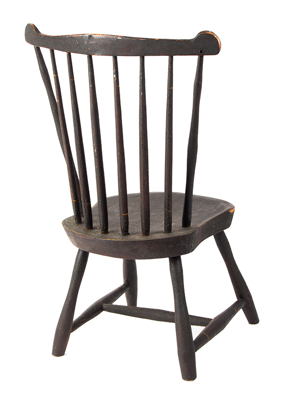 19th Century Youths Windsor Fan-Back Side Chair, Historic Surface New England, circa 1810 Seat carved of Northeastern white pine, early brown over green over red paint, entire view 4