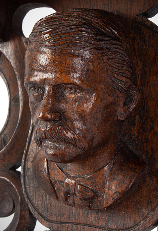 John Haley Bellamy Carved Wall Bracket (Shelf), Patriotic, Full Portrait, Eagle, Bunting Kittery, Maine and Portsmouth, New Hampshire (1836-1914) Possibly Titcomb & Bellamy, detail view 2
