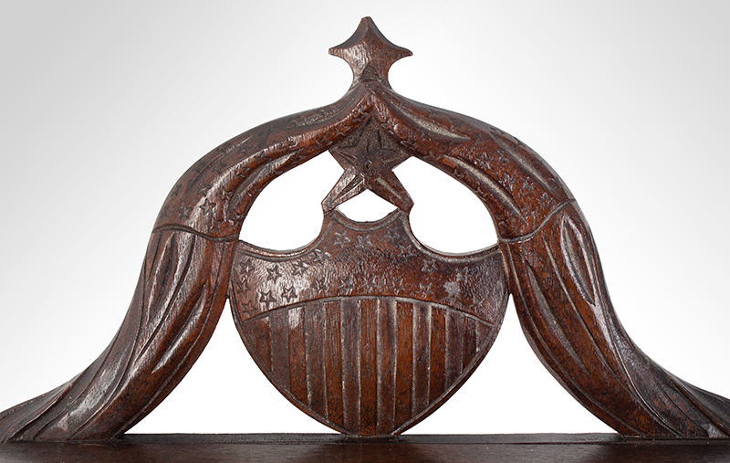 John Haley Bellamy Carved Wall Bracket (Shelf), Patriotic, Full Portrait, Eagle, Bunting Kittery, Maine and Portsmouth, New Hampshire (1836-1914) Possibly Titcomb & Bellamy, detail view 3