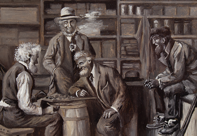 Arthur Burdett Frost, A Close Game Between the Squire and the Postmaster Arthur Burdett Frost (1851-1928), detail view 1