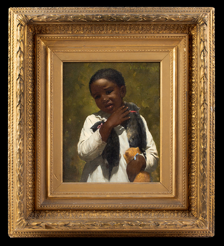 Ida Waugh (1846-1919), Pair of Portraits, Young Girls Holding Kittens Signed, Upper Right, portrait 2