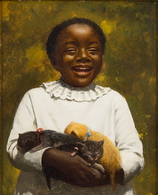 Ida Waugh (1846-1919), Pair of Portraits, Young Girls Holding Kittens Signed, Upper Right, portrait 1 sans frame