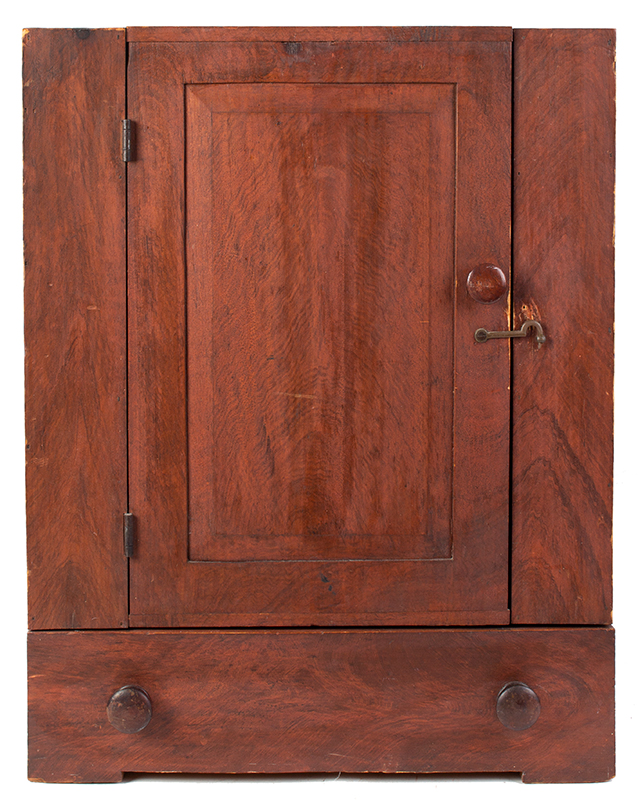 Small Paint Decorated Country Cupboard with Drawer, entire view 1