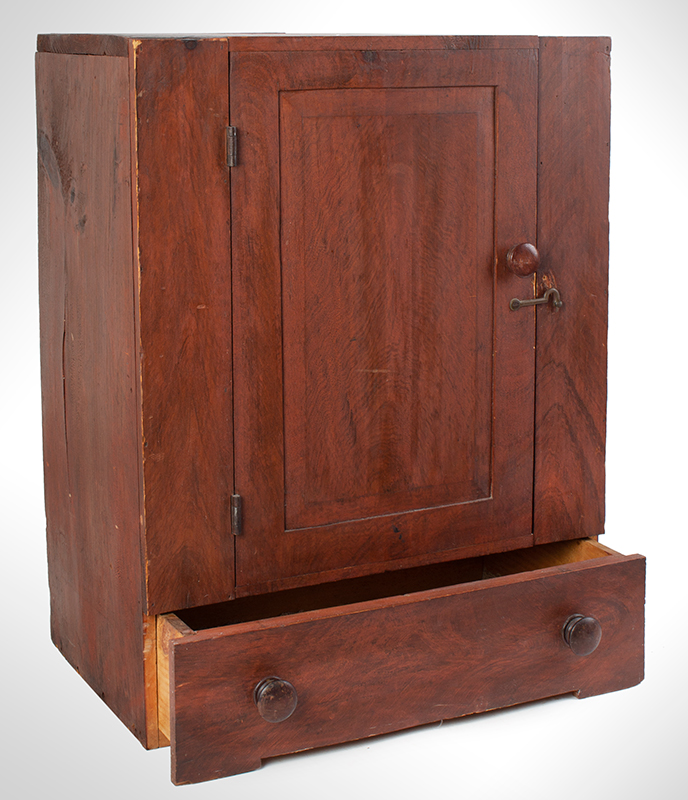 Small Paint Decorated Country Cupboard with Drawer, entire view 2
