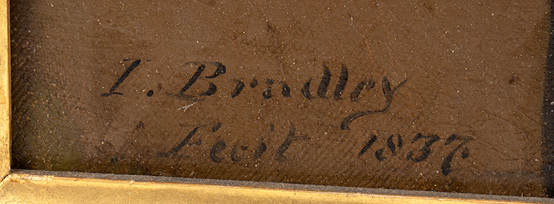 Portrait of a Writing Master, American School Inscribed (at lower left): Penmanship Cl[ass] / Taught By, artist detail