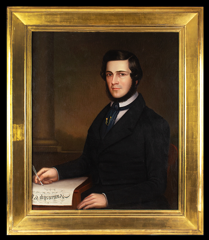 Portrait of a Writing Master, American School Inscribed (at lower left): Penmanship Cl[ass] / Taught By, entire view