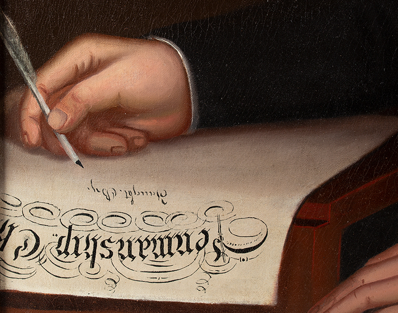 Portrait of a Writing Master, American School Inscribed (at lower left): Penmanship Cl[ass] / Taught By, detail view 2