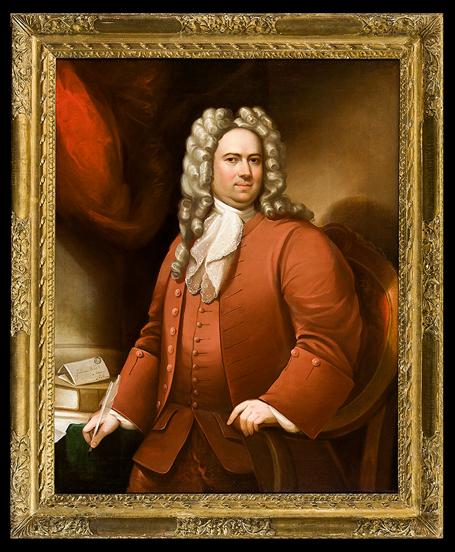 Portrait, 'Johannes Wendell, Albany, N. America' 1719…SPECTACULAR American School, Anonymous, entire view