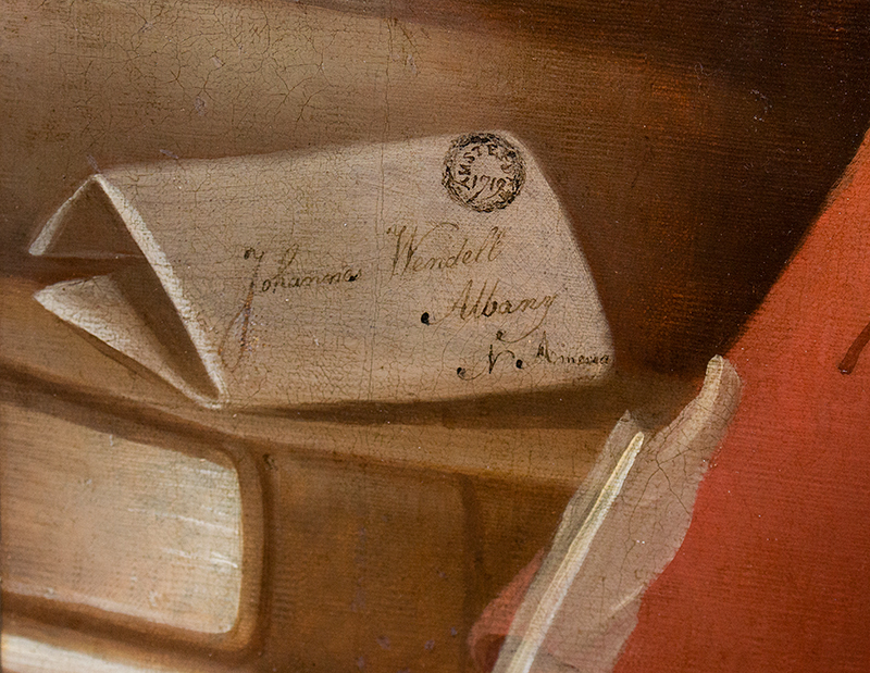 Portrait, 'Johannes Wendell, Albany, N. America' 1719…SPECTACULAR American School, Anonymous, detail view