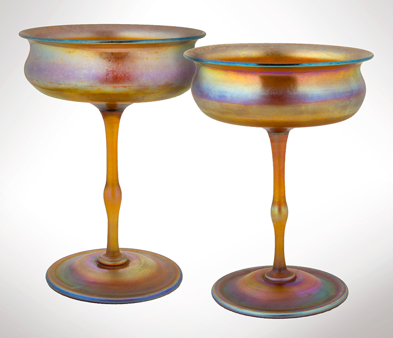 Large Pair, Tiffany Studios Favrile Glass Compotes, New York, entire view 1