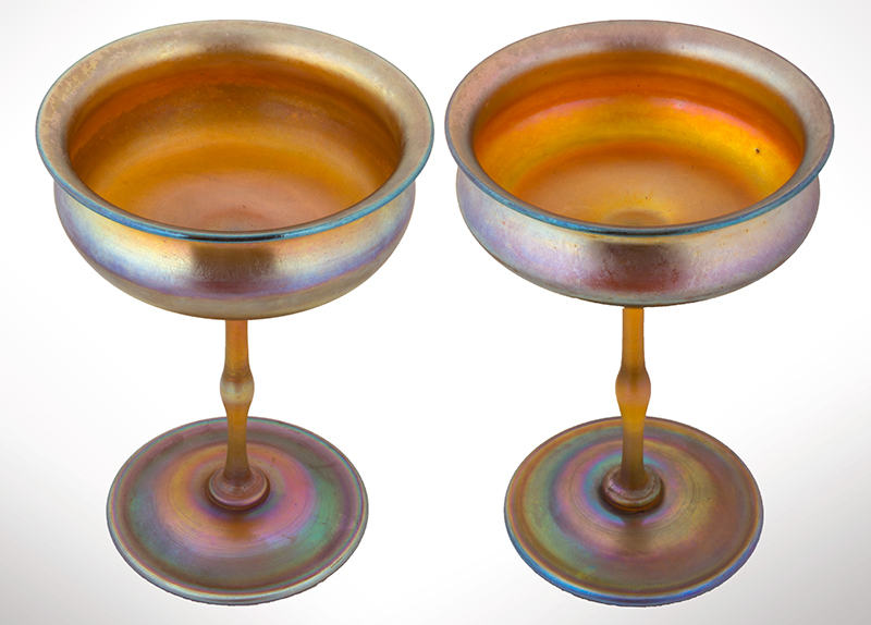 Large Pair, Tiffany Studios Favrile Glass Compotes, New York, entire view 2