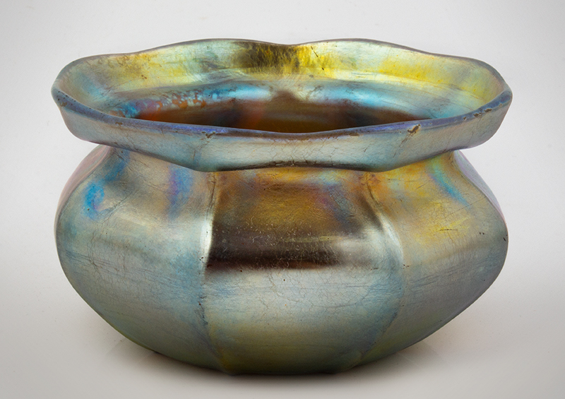 """Tiffany Studious Gold Finger Bowl, Ribbed & Ruffled  Signed on the Underside """"L. C. Tiffany – Favrile 4225G"""", entire view 1"""
