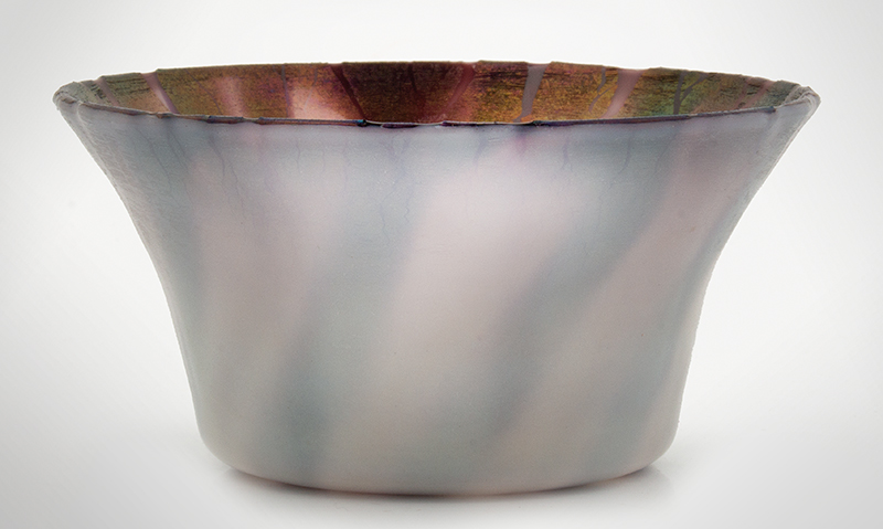 """Tiffany Pastel Purple Bowl, Rare & Beautiful, Possibly Experimental Marked on the underside """"L.C.T. Favrile N3209"""", entire view 2"""