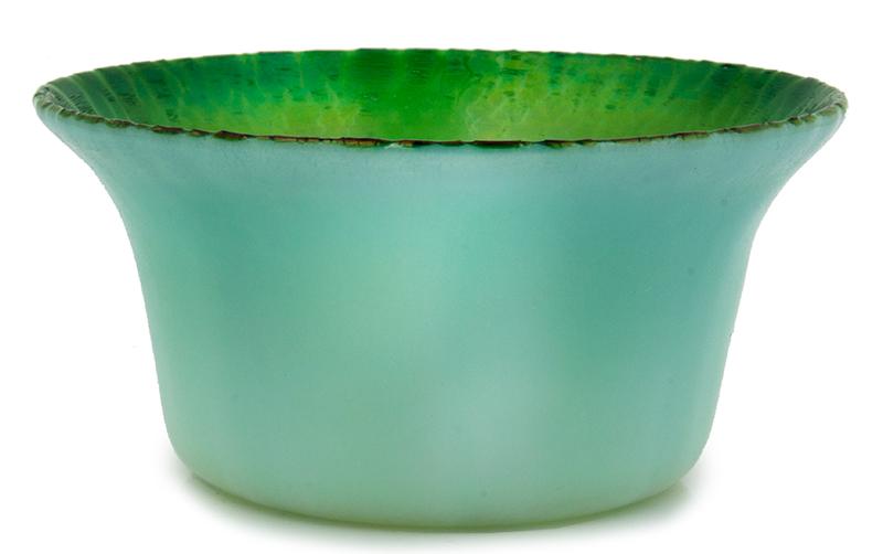 "Tiffany Experimental Pastel Green Bowl, Onion Skin Rim, Exquisite  Signed on Underside ""L.C.T. x395"", Original Tiffany Studios Label, entire view 1"