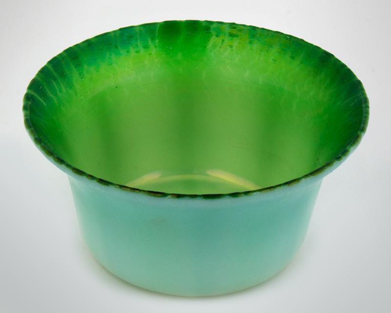 "Tiffany Experimental Pastel Green Bowl, Onion Skin Rim, Exquisite  Signed on Underside ""L.C.T. x395"", Original Tiffany Studios Label, entire view 2"